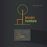 Abstrakcjonistyczny krzesło symbol - kreatywnie drewniany meblarski loga projekt Wizytówka projekt zawierać Eco projekta pojęcie Obrazy Stock