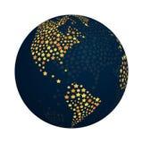 Abstrakcjonistyczny kula ziemska projekt z błyszczącą gwiazda wektoru ilustracją Nowożytny modny ziemski planeta symbol z jaskraw ilustracji