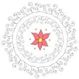 Abstrakcjonistyczny kurenda wzór z kwiatem Zdjęcia Stock