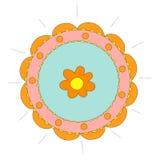 Abstrakcjonistyczny kurenda wzór z kwiatem Zdjęcie Royalty Free