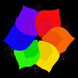 Abstrakcjonistyczny kwiat w sześć kolorach ilustracja wektor