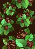 Abstrakcjonistyczny kwiatu wzór na ciemnym tle Obraz Stock