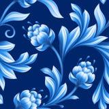 Abstrakcjonistyczny kwiecisty bezszwowy tło, wzór z ludowymi kwiatami Obrazy Royalty Free