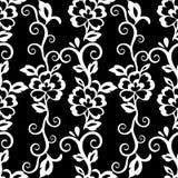 Abstrakcjonistyczny kwiecisty bezszwowy wzór, vecto tło Biały kwiecisty ornament z kędziorami na czarnym tle Dla tkanina projekta Zdjęcie Royalty Free