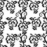 Abstrakcjonistyczny kwiecisty bezszwowy wzór, wektorowy tło Czarny kwiecisty ornament z kędziorami na białym tle Dla tkanina proj Zdjęcie Royalty Free