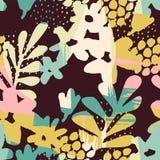 Abstrakcjonistyczny kwiecisty bezszwowy wzór z modna ręka rysować teksturami Zdjęcie Royalty Free