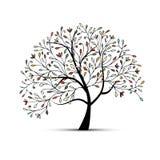 Abstrakcjonistyczny kwiecisty drzewo dla twój projekta ilustracja wektor