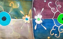 Abstrakcjonistyczny kwiecisty ornament na batikowym jedwabniczym szaliku Obraz Royalty Free