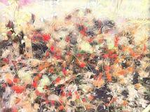 Abstrakcjonistyczny kwiecisty tło z jesień kwiatami Różowego żółtego kwiatu krzaka romantyczna cyfrowa ilustracja zdjęcie stock