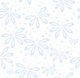 Abstrakcjonistyczny kwiecisty wektorowy bezszwowy wzór z błękitnymi obliczającymi ćma ilustracji