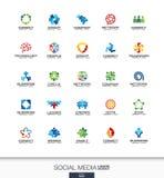 Abstrakcjonistyczny logo ustawiający dla biznesowej firmy Sieć, ogólnospołeczni środki i internetów pojęcia, Ludzie łączą, abonen ilustracja wektor