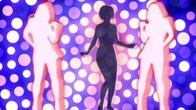 Abstrakcjonistyczny Loopable tło z ładnymi dancingowymi dziewczynami ilustracja wektor
