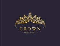Abstrakcjonistyczny luksus, królewskiej złotej firma loga ikony wektorowy projekt ilustracja wektor