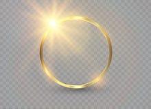Abstrakcjonistyczny luksusowy złoty pierścionek Wektoru światła okręgi i iskrowy lekki skutek ilustracji