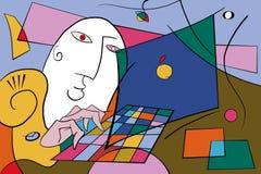 Abstrakcjonistyczny mężczyzna pracuje z komputerem royalty ilustracja