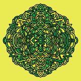 Abstrakcjonistyczny mandala ornament azjata wzoru styl Zielony i Żółty tło również zwrócić corel ilustracji wektora Zdjęcie Stock