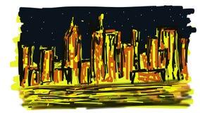Abstrakcjonistyczny Manhattan przy nocą royalty ilustracja