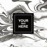 Abstrakcjonistyczny marmoryzaci tło w czarny i biały kolorach dla invit Zdjęcie Royalty Free