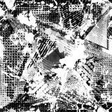 Abstrakcjonistyczny miastowy bezszwowy wzór Grunge tekstury tło Scuffed opadowy rozpyla, trójboki, kropki, czarny i biały kiść ilustracja wektor