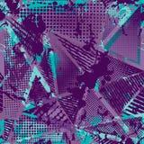 Abstrakcjonistyczny miastowy bezszwowy wzór Grunge tekstury tło Scuffed opadowy rozpyla, trójboki, kropki, neonowa kiści farba Zdjęcie Stock