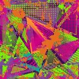 Abstrakcjonistyczny miastowy bezszwowy wzór Grunge tekstury tło Scuffed opadowy rozpyla, trójboki, kropki, neonowa kiści farba Zdjęcia Stock