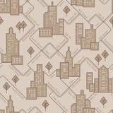 Abstrakcjonistyczny miastowy bezszwowy wzór Krajobraz z blokami mieszkalnymi Wektorowy tło royalty ilustracja