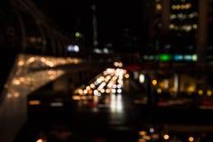 Abstrakcjonistyczny miastowy miasto nocy światła bokeh, defocused tło zdjęcia royalty free
