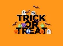 Abstrakcjonistyczny śmieszny stylu Halloween trikowy lub funda mieszkania emoji Zdjęcia Stock