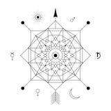 Abstrakcjonistyczny mistyczny geometria symbol Wektorowy liniowy alchemii, occult i filozoficznego znak, Obrazy Royalty Free