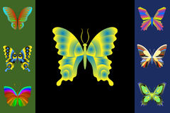 Abstrakcjonistyczny motyla set Zdjęcia Royalty Free