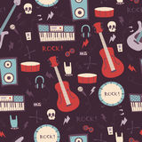 Abstrakcjonistyczny muzyczny bezszwowy wzór tła natychmiastowa muzyczna fotografii druków skała Obraz Royalty Free
