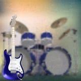 Abstrakcjonistyczny muzyczny tło z gitarą elektryczną i Zdjęcia Royalty Free