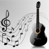 Abstrakcjonistyczny muzyczny tło z gitarą i notatkami royalty ilustracja