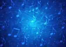 Abstrakcjonistyczny muzyk notatek personel w Rozmytym Grungy zmroku - błękitny tło ilustracja wektor