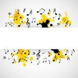 Abstrakcjonistyczny muzykalny tło z notatkami Zdjęcia Royalty Free