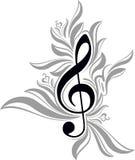 abstrakcjonistyczny muzykalny tło z treble clef Fotografia Royalty Free