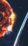 Abstrakcjonistyczny naukowy tło - planety w przestrzeni, mgławicie i gwiazdach, Elementy ten wizerunek meblujący NASA nasa gov Obraz Royalty Free