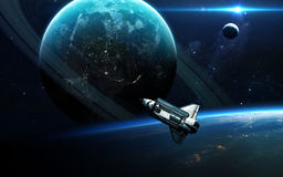 Abstrakcjonistyczny naukowy tło - planety w przestrzeni, mgławicie i gwiazdach, Elementy ten wizerunek meblujący NASA nasa gov Fotografia Royalty Free