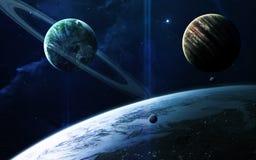 Abstrakcjonistyczny naukowy tło - planety w przestrzeni, mgławicie i gwiazdach, Elementy ten wizerunek meblujący NASA nasa gov Zdjęcia Royalty Free