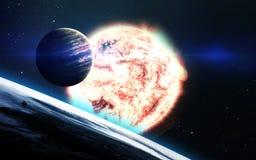 Abstrakcjonistyczny naukowy tło - planety w przestrzeni, mgławicie i gwiazdach, Elementy ten wizerunek meblujący NASA nasa gov Obraz Stock