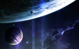 Abstrakcjonistyczny naukowy tło - planety w przestrzeni, mgławicie i gwiazdach, Elementy ten wizerunek meblujący NASA nasa gov Zdjęcie Stock