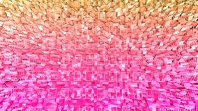 Abstrakcjonistyczny niski poli- styl zapętlający tło 3d bezszwowa animacja w 4k Nowożytni gradientów kolory Czerwona pomarańcze p royalty ilustracja