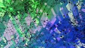 Abstrakcjonistyczny niski poli- styl zapętlający tło 3d bezszwowa animacja w 4k Nowożytni gradientów kolory Zielona błękit powier ilustracji