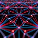Abstrakcjonistyczny nowożytny błękita i czerwonych linii tło z rozrzuconym biel kropek 3d renderingiem Zdjęcie Royalty Free