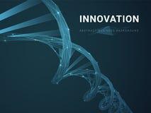 Abstrakcjonistyczny nowożytny biznesowy tło przedstawia innowację z gwiazdami i liniami w kształcie DNA dwoisty helix na błękitny royalty ilustracja