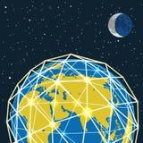 Abstrakcjonistyczny nowożytny globalny komunikuje plan ilustracja wektor