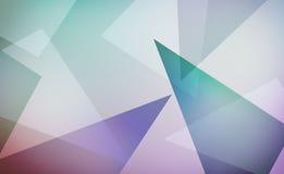 Abstrakcjonistyczny nowożytny projekt z warstwami purpurowymi błękitna zieleń i białymi trójbokami na miękkim białym tło układzie royalty ilustracja
