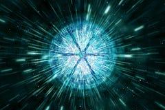 Abstrakcjonistyczny Nowożytny Round Pokrajać Cyfrowego kształt Wybuchać grafikę W mknięcia promieniach światła tło Wokoło royalty ilustracja