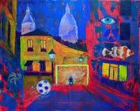Abstrakcjonistyczny obraz footbal na Montmartre royalty ilustracja