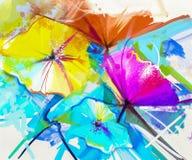 Abstrakcjonistyczny obraz olejny kolorowy wiosna kwiat ilustracja wektor